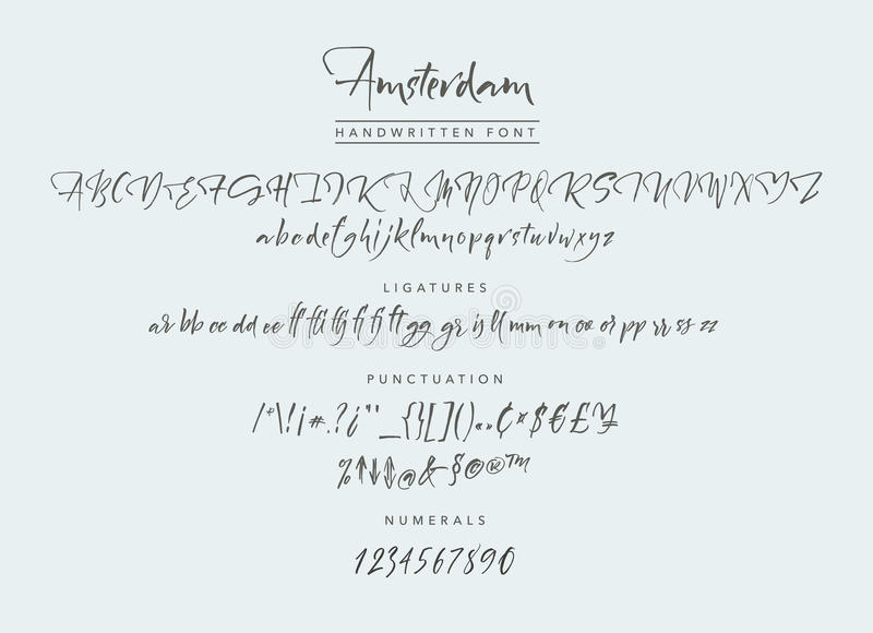 The Village Handwritten Font. Amsterdam Handwritten script font. Brush font. Uppercase, lowercase, numbers, punctuation and a lot of ligatures royalty free illustration
