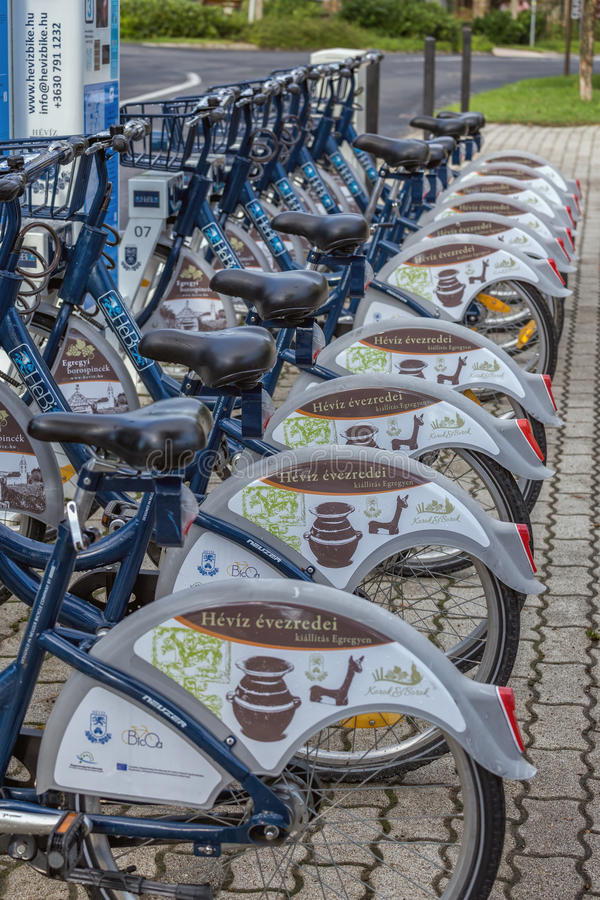The village Heviz Hungary has a public bike sharing system, 19. August 2016 village Heviz of Hungary stock photos