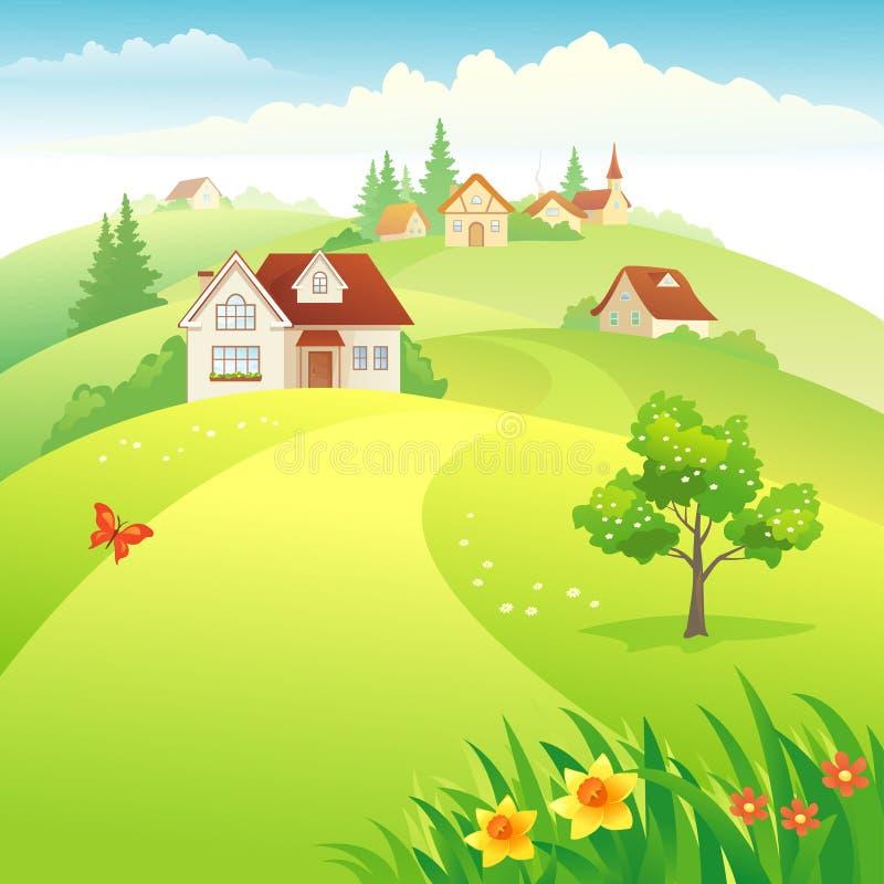 Village on the hills. Illustration of a beautiful village on the hills stock illustration