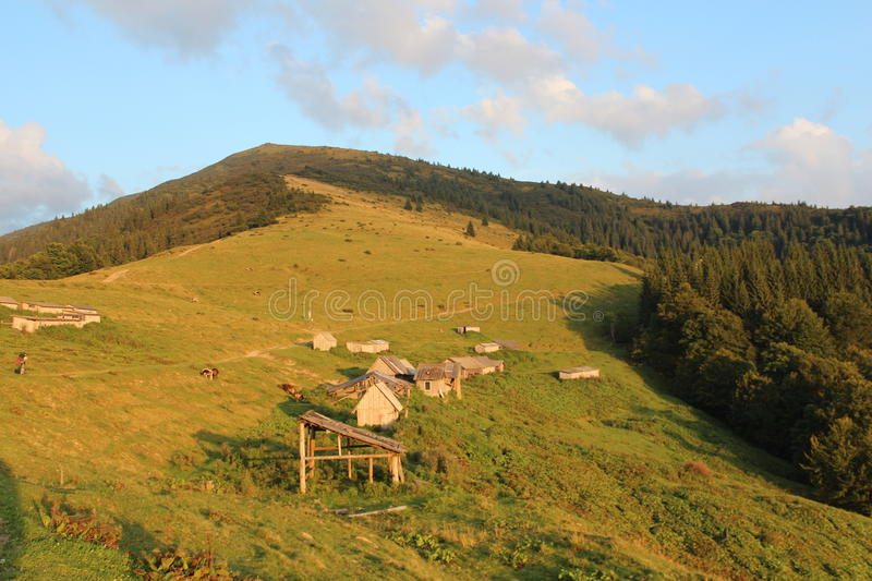 The village on the hillside stock image