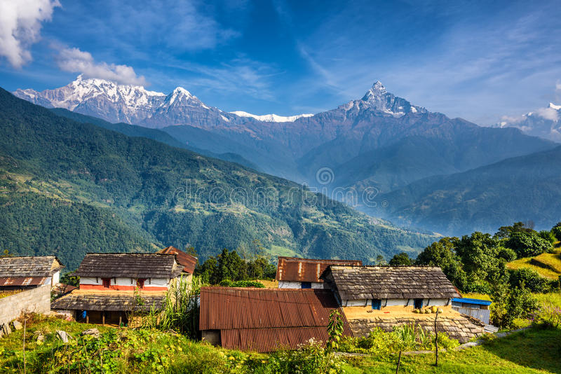 Village in the Himalaya mountains in Nepal. Nepalese village in the Himalaya mountains near Pokhara in Nepal stock image