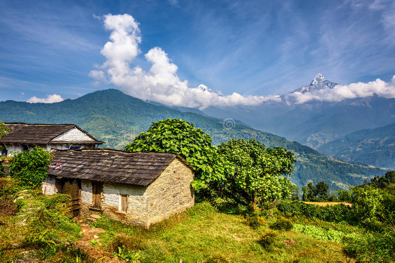 Village in the Himalaya mountains in Nepal stock photos