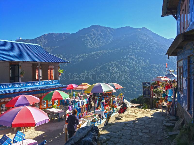 Village in Himalayas Mountains Annapurna trek stock photography