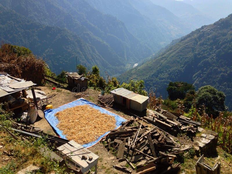 Village in Himalayas Mountains Annapurna trek stock image