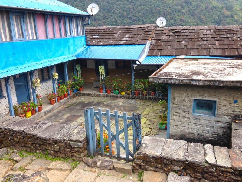 Village in Himalayas Mountains Annapurna trek stock photography