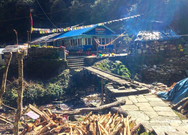 Village in Himalayas Mountains Annapurna trek stock photos