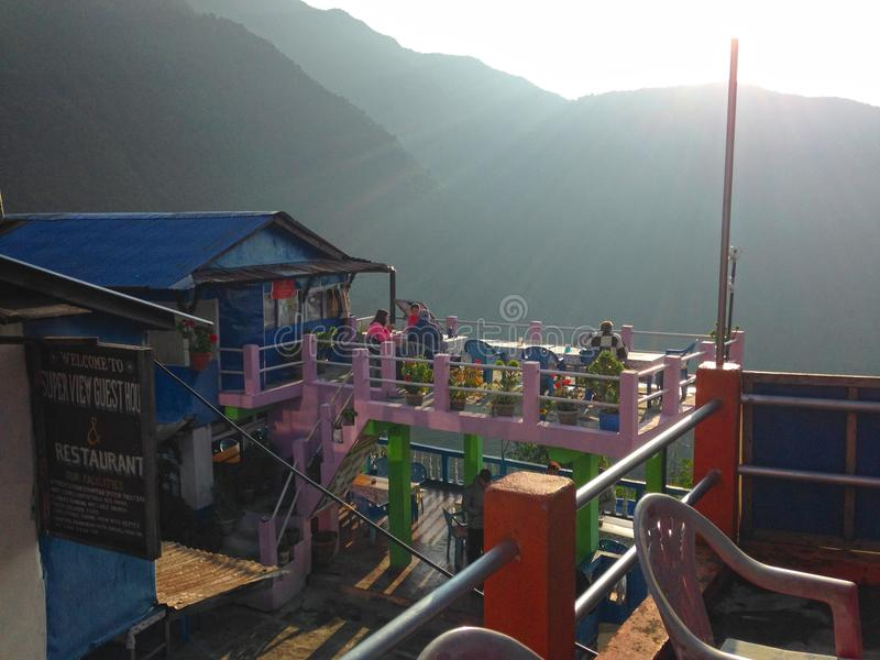 Village in Himalayas Mountains Annapurna trek stock images