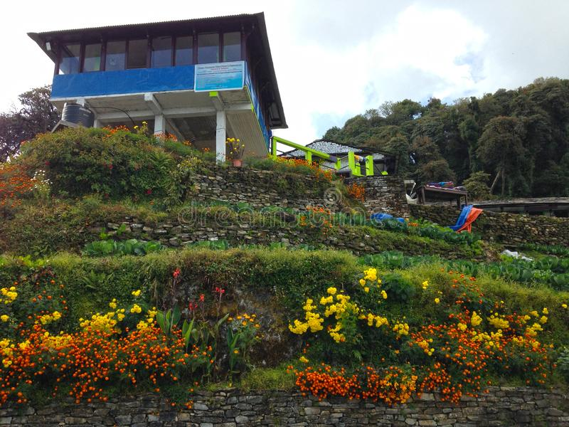 Village in Himalayas Mountains Annapurna trek royalty free stock photography