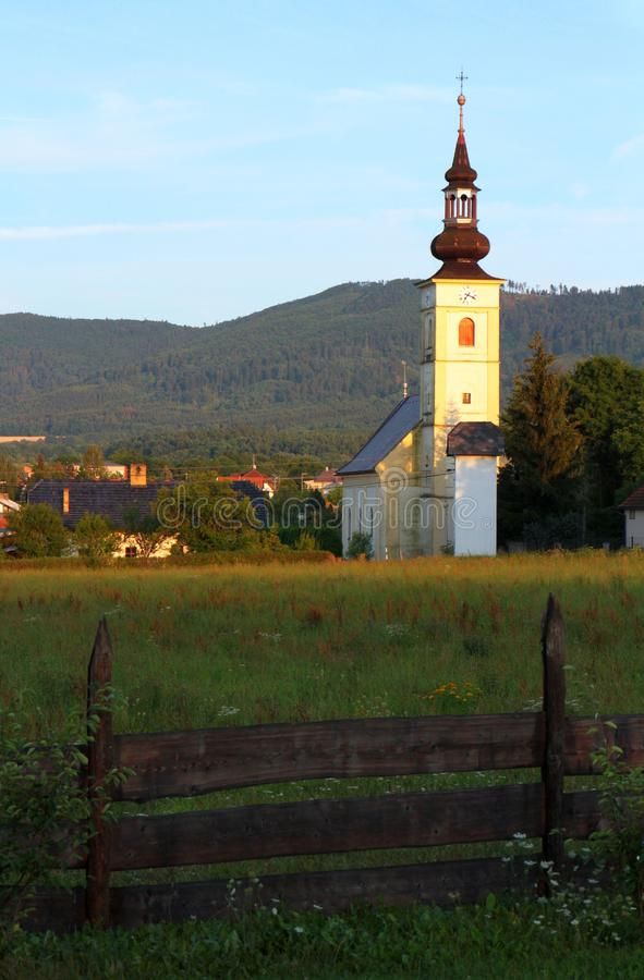 Village Hodslavice - evangelical church royalty free stock images