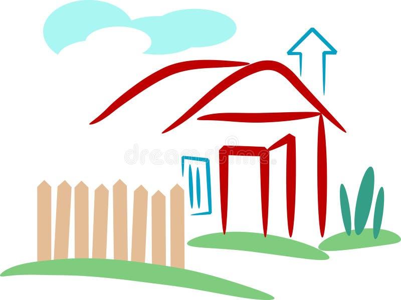Village home. Line art image stock illustration