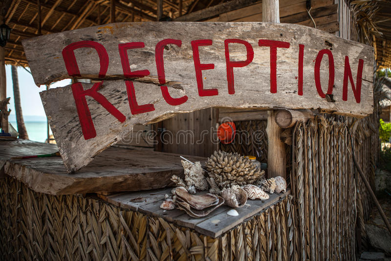 Village hotel. reception sign royalty free stock images