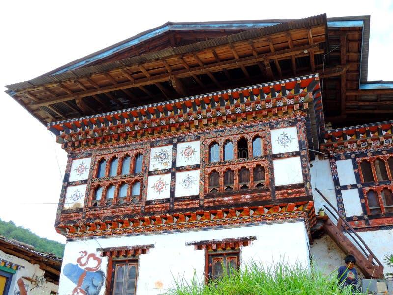Village house enroute Chimi Lhakhang, Bhutan royalty free stock image