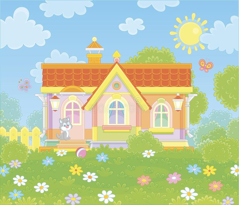 Village house on a sunny summer day. Colorful country cottage and a cute grey kitten watching funny butterflies flittering among flowers on green grass of a lawn vector illustration