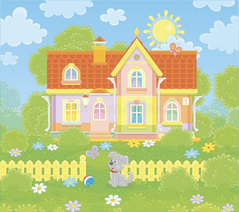 Village house on a sunny summer day. Colorful country cottage and a cute grey pup watching funny butterflies flittering among flowers on green grass of a lawn stock illustration
