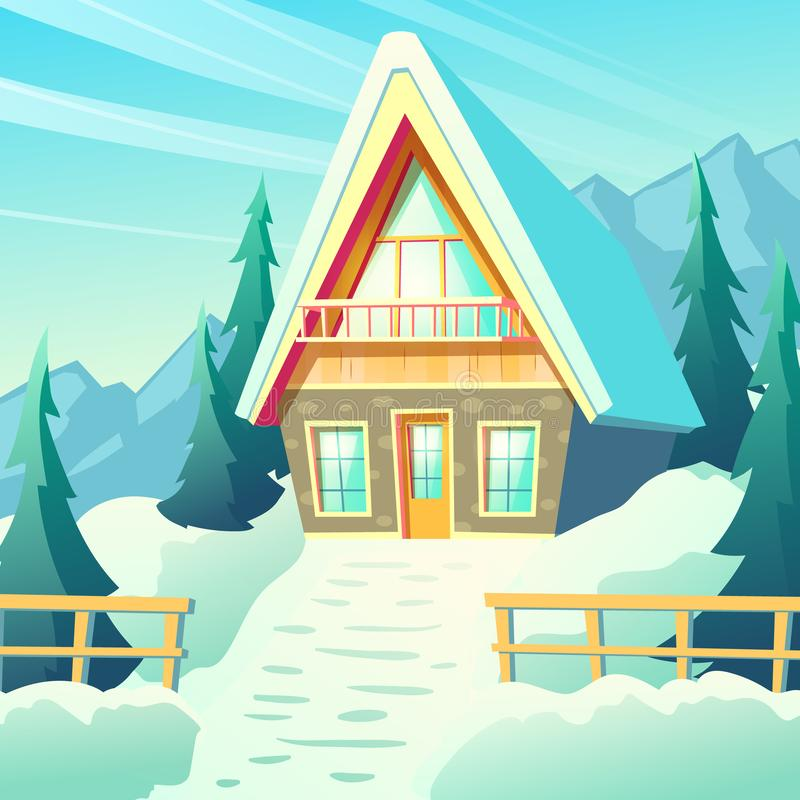 Village house in winter mountains cartoon vector royalty free illustration
