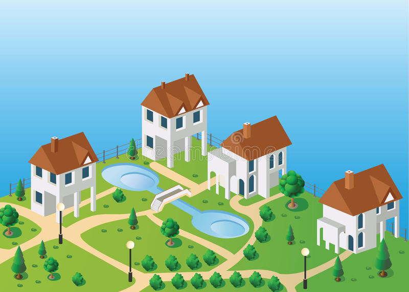 Village houses in the vector illustration
