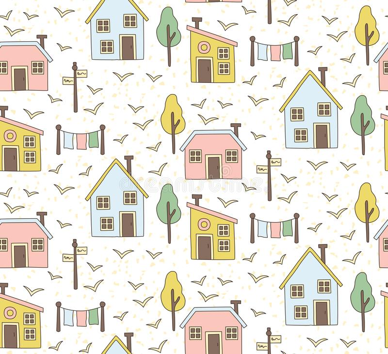 Village houses buildings seamless vector pattern royalty free illustration