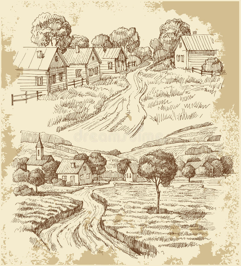 Village houses sketch with food stock illustration