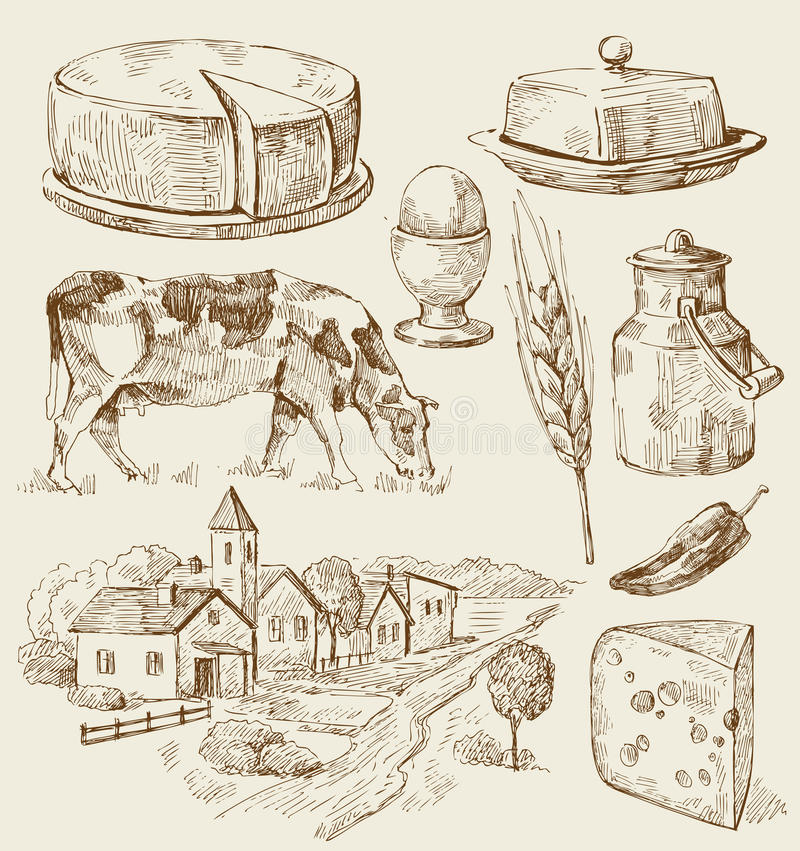 Free Village Houses Sketch With Food Royalty Free Stock Images - 24472959