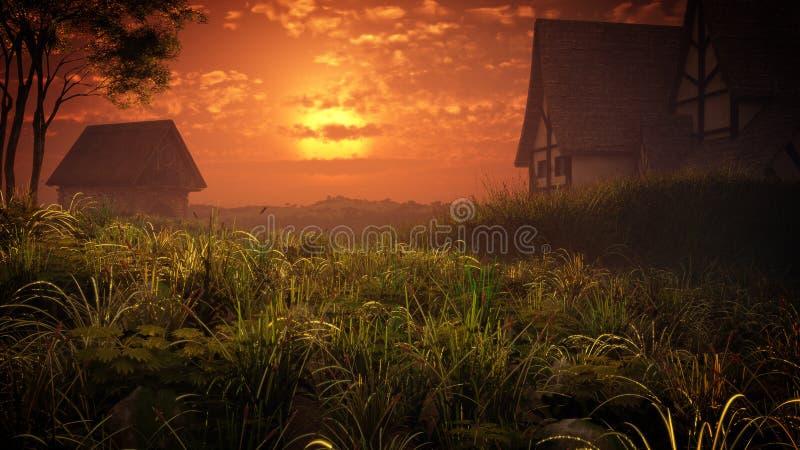 Village Houses Sunset royalty free stock image