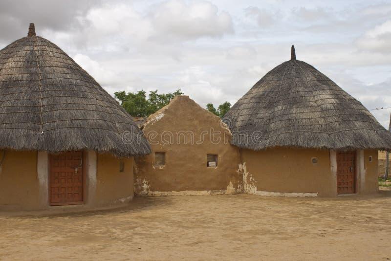 Village hut in Thar desert. In India royalty free stock photos