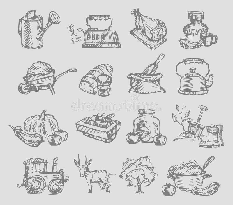 Village Icons Royalty Free Stock Photography