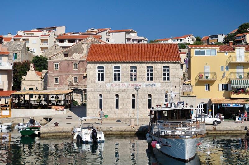 Village of Igrane with buildings in Croatia stock image