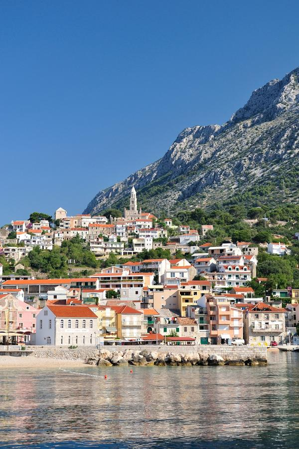 Village of Igrane with tower in Croatia royalty free stock photo