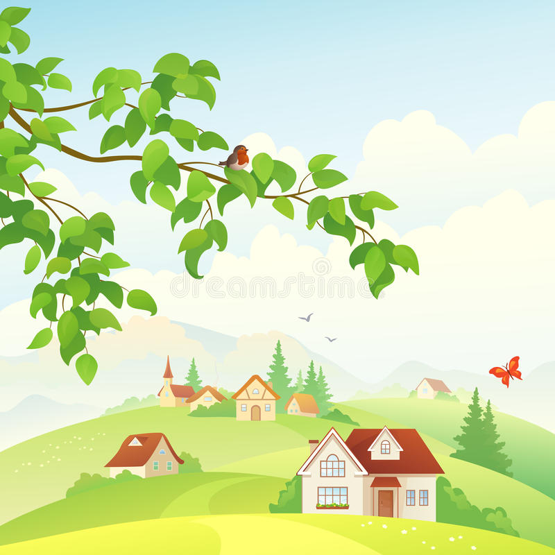 Village. Illustration of a beautiful village view vector illustration