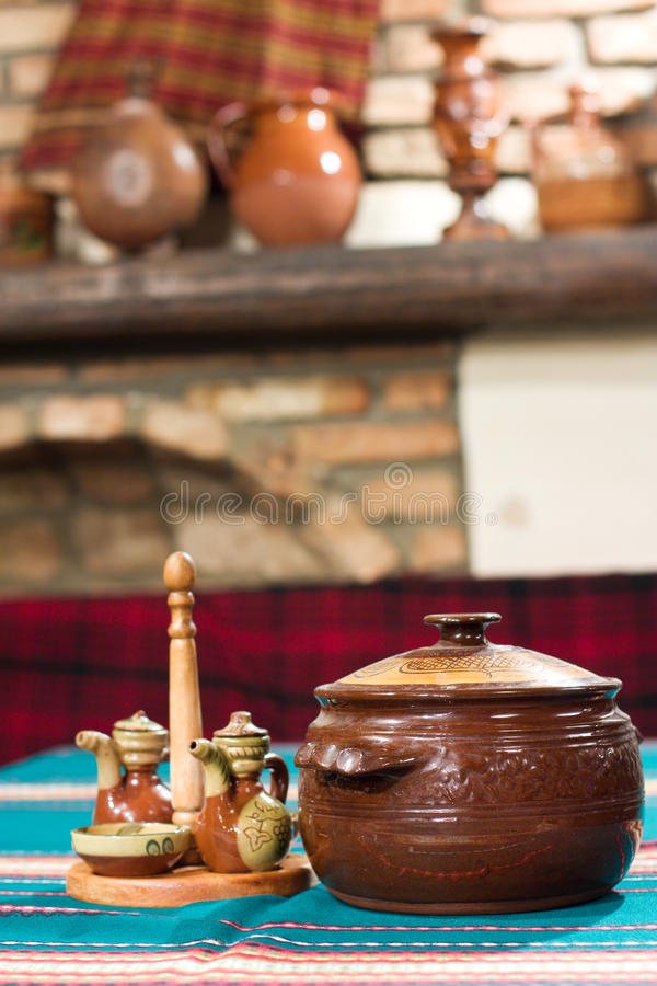 Village Interior Of Table With Cup Gourmet Meal Stock Photo