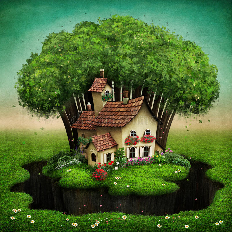 Village on island. Small village and forest on green island. Computer graphics royalty free illustration