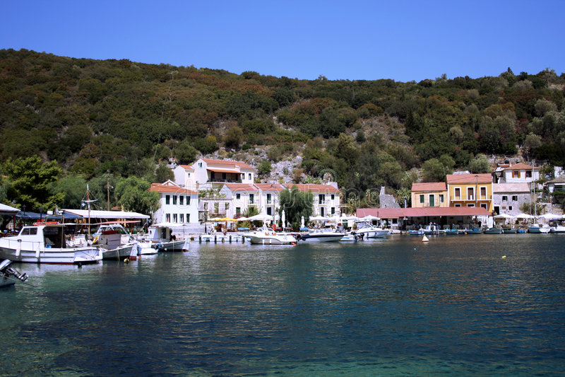 Village On Ithaca. Small village Kioni on Ithaca Island Greece royalty free stock image