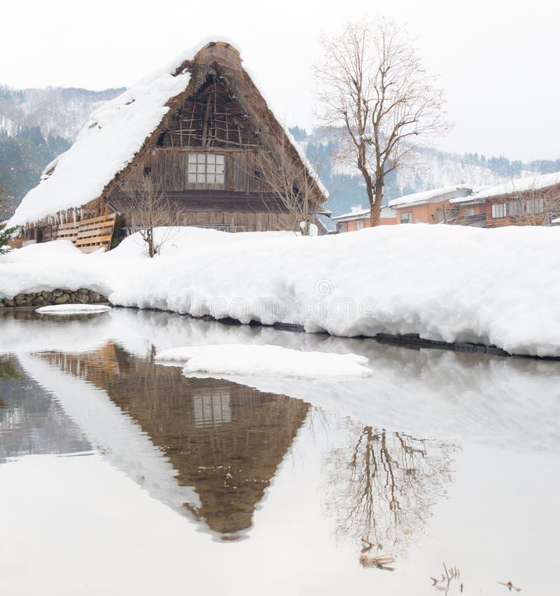Village Japon de neige images libres de droits
