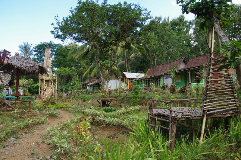 Village on the Java island in Indonesia stock photo