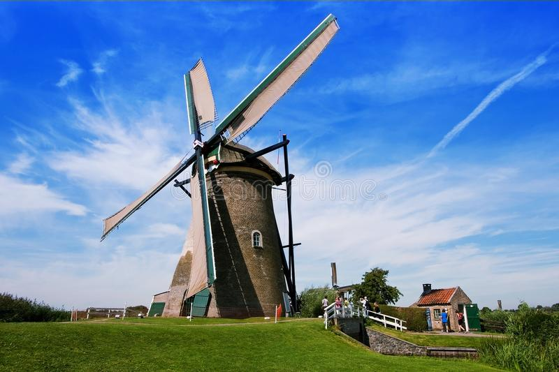 The village of Kinderdijk in the Netherlands in the province of South Holland. Ancient windmills stock photos