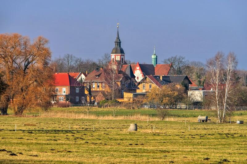 The village Klettwitz in Lusatian Lake District stock images