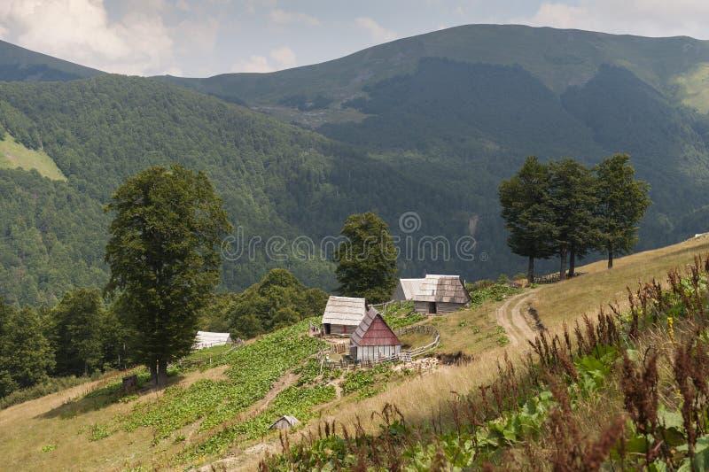 Village in Komovi mountains royalty free stock image
