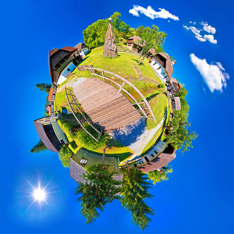 Village of Kumrovec countryside planet perspective panorama stock images