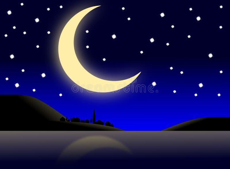 Village la nuit illustration de vecteur