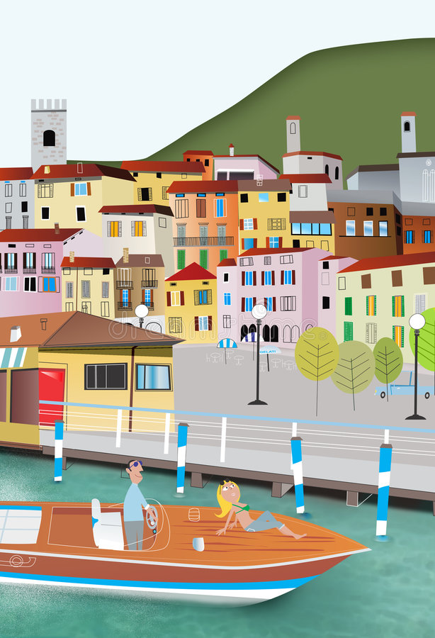Download Village on lake stock illustration. Illustration of calendar - 4086328