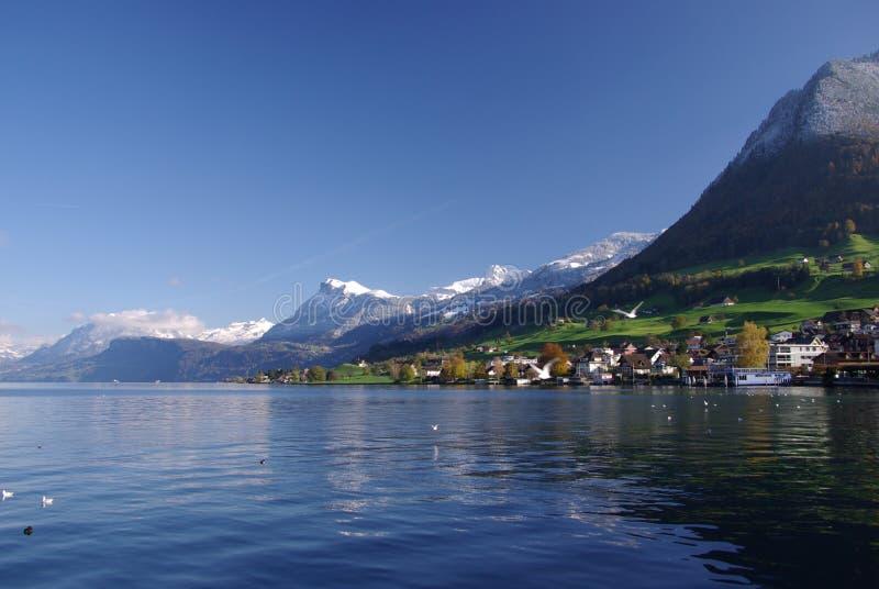 Village on Lake Lucerne royalty free stock photos