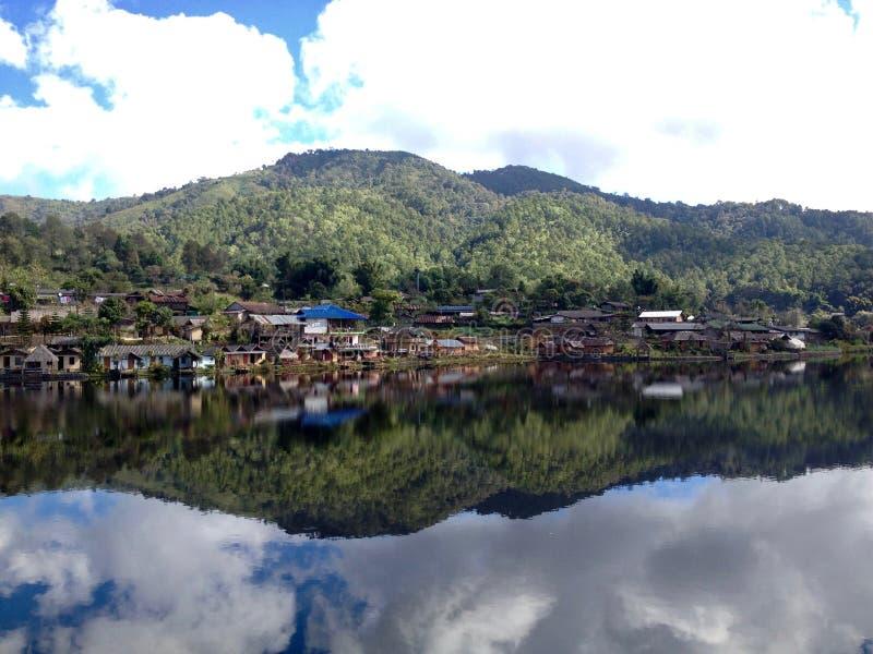 Village at the lake stock photo