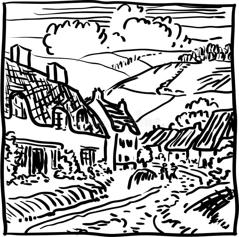Village landscape stock illustration