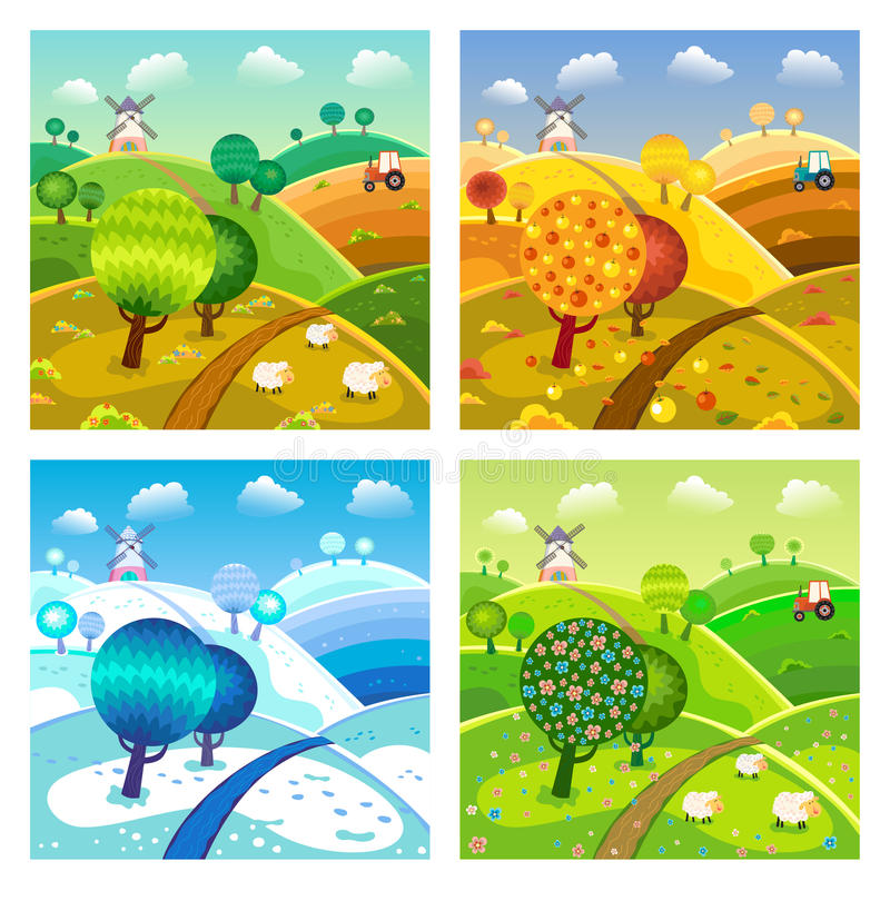 Village landscape. Four seasons. stock illustration