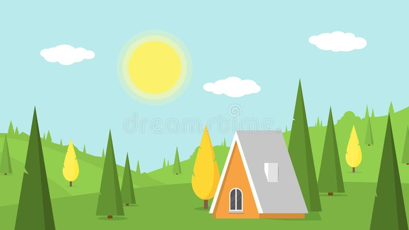 Village landscape with green lawns, hills and country house. Vacation in countryside. Vector summer nature background vector illustration
