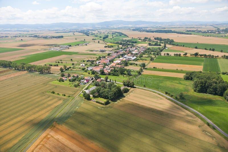Village Landscape Over Clouds Stock Photo