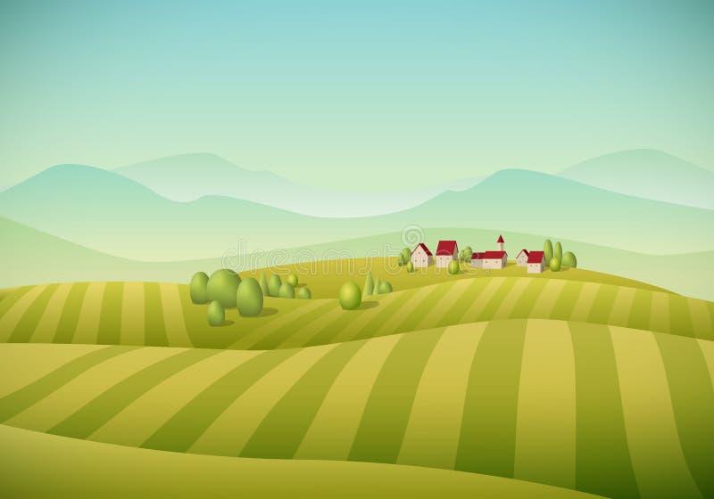 Village Landscape. Vector illustration of little village landscape with fields royalty free illustration