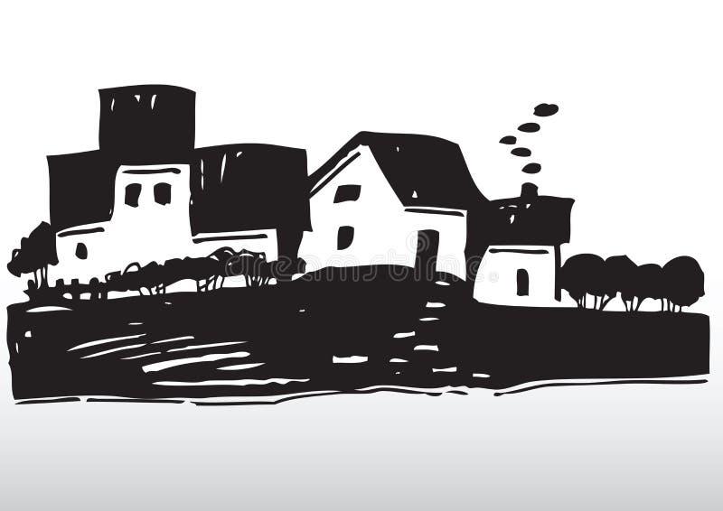 village latéral de pays illustration de vecteur