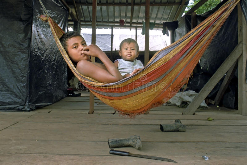 Village life of Indians Coco River, Nicaragua stock image