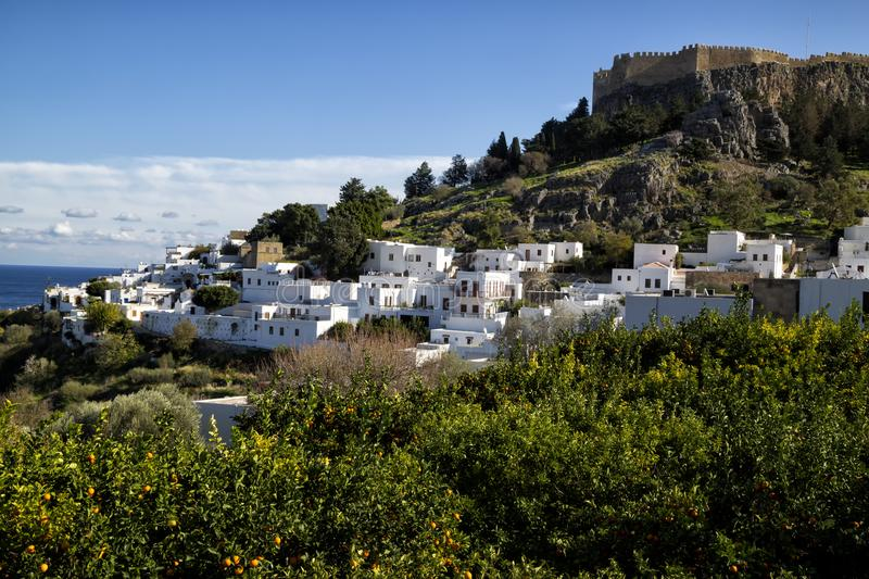 The village of Lindos, Rhodes, Greece. Winter view of the beautiful village Lindos at Rhodes island, Greece royalty free stock image